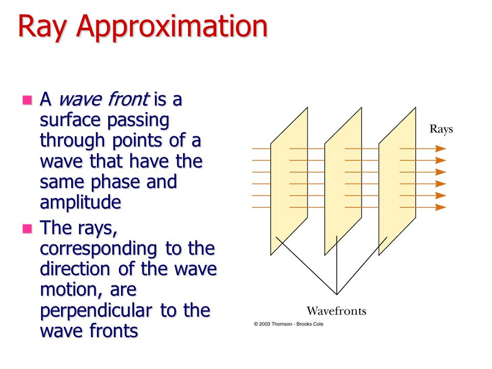 Ray Approximation A wave front is a surface passing through points of a wave that have the same phase and amplitude.
