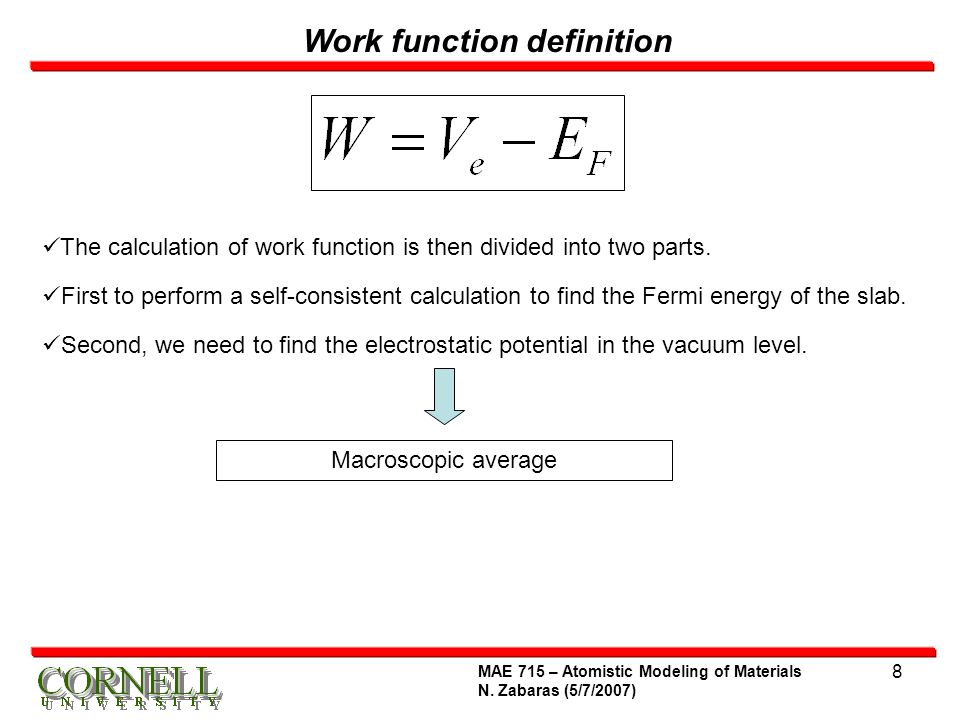 how to calculate work function