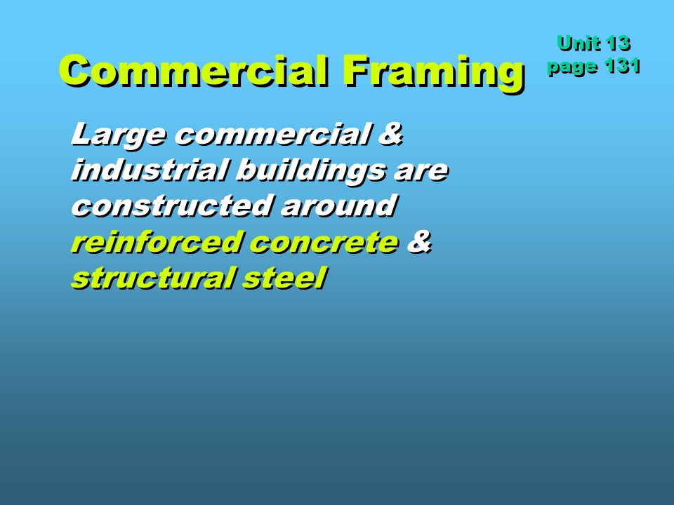Unit 13 page 131. Commercial Framing.