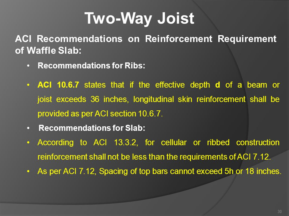 Two-Way Joist ACI Recommendations on Reinforcement Requirement of Waffle Slab: Recommendations for Ribs: