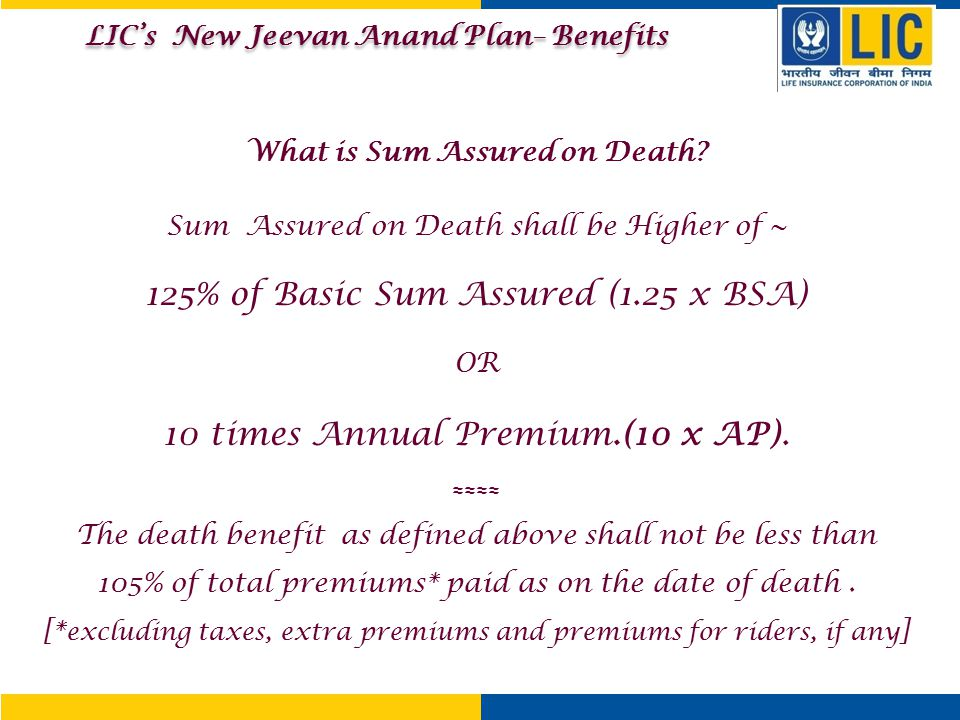 LIC's New Jeevan Anand Plan– Benefits What is Sum Assured on Death
