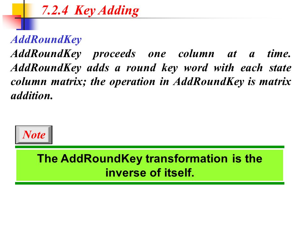 The AddRoundKey transformation is the inverse of itself.