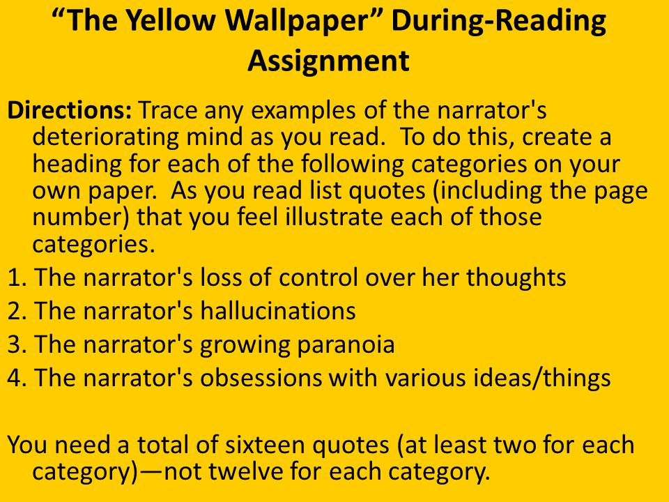 The Yellow Wallpaper Pre Reading Exercise Ppt Download