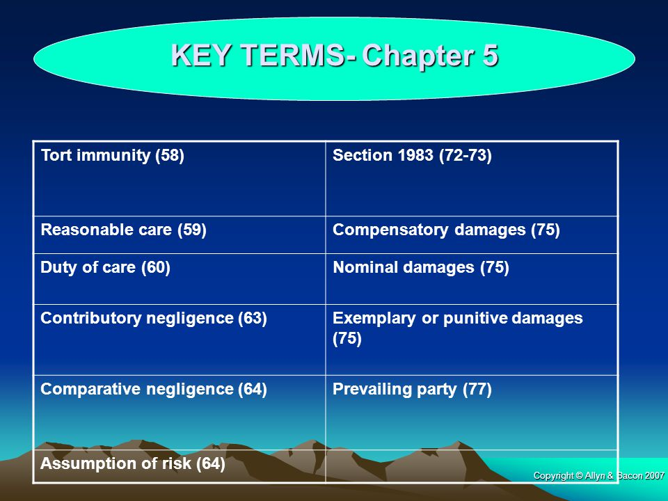 KEY TERMS- Chapter 5 Tort immunity (58) Section 1983 (72-73)