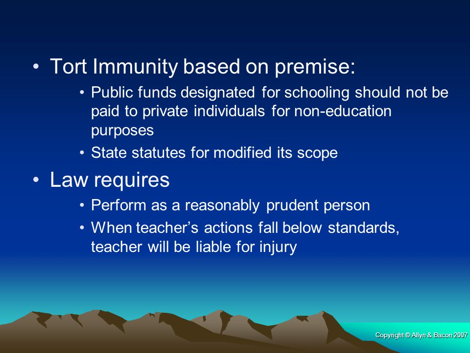 Tort Immunity based on premise: