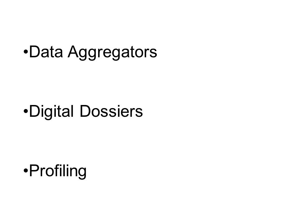 Data Aggregators Digital Dossiers Profiling