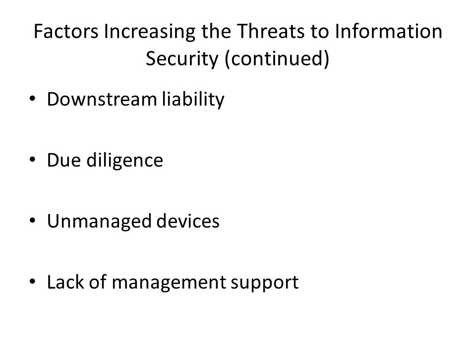 Factors Increasing the Threats to Information Security (continued)