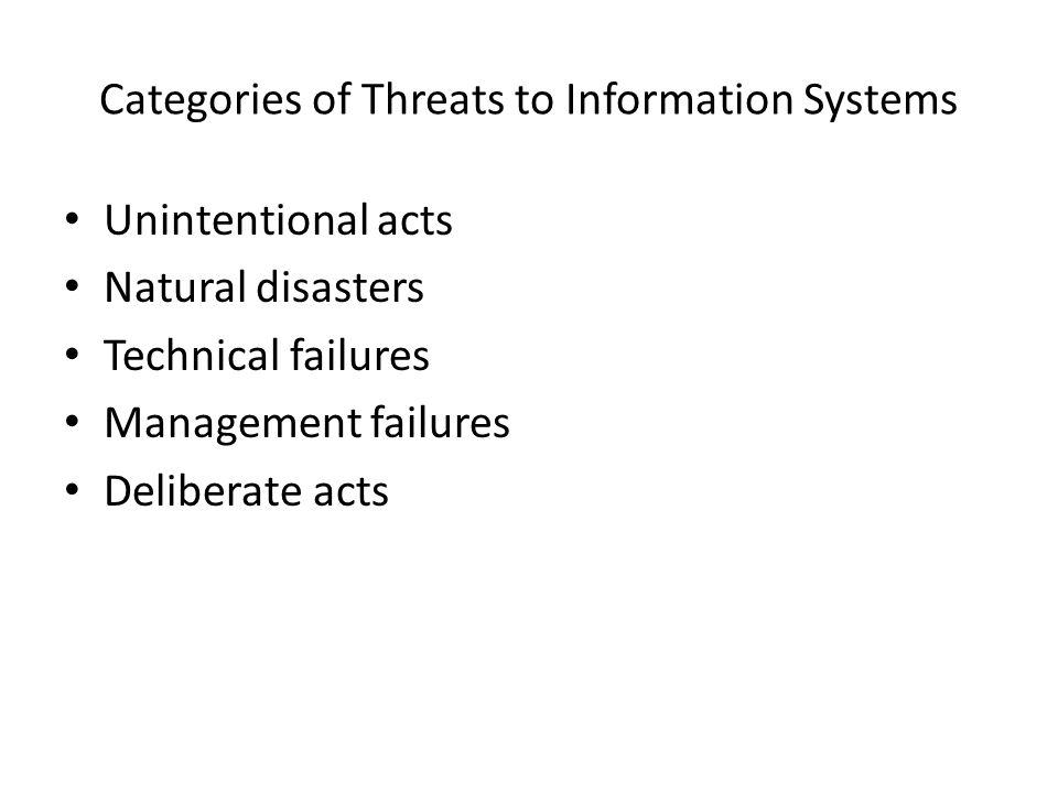 Categories of Threats to Information Systems