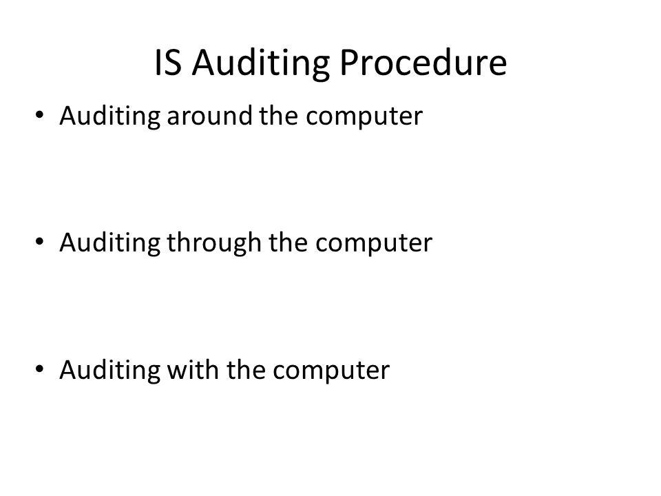 IS Auditing Procedure Auditing around the computer