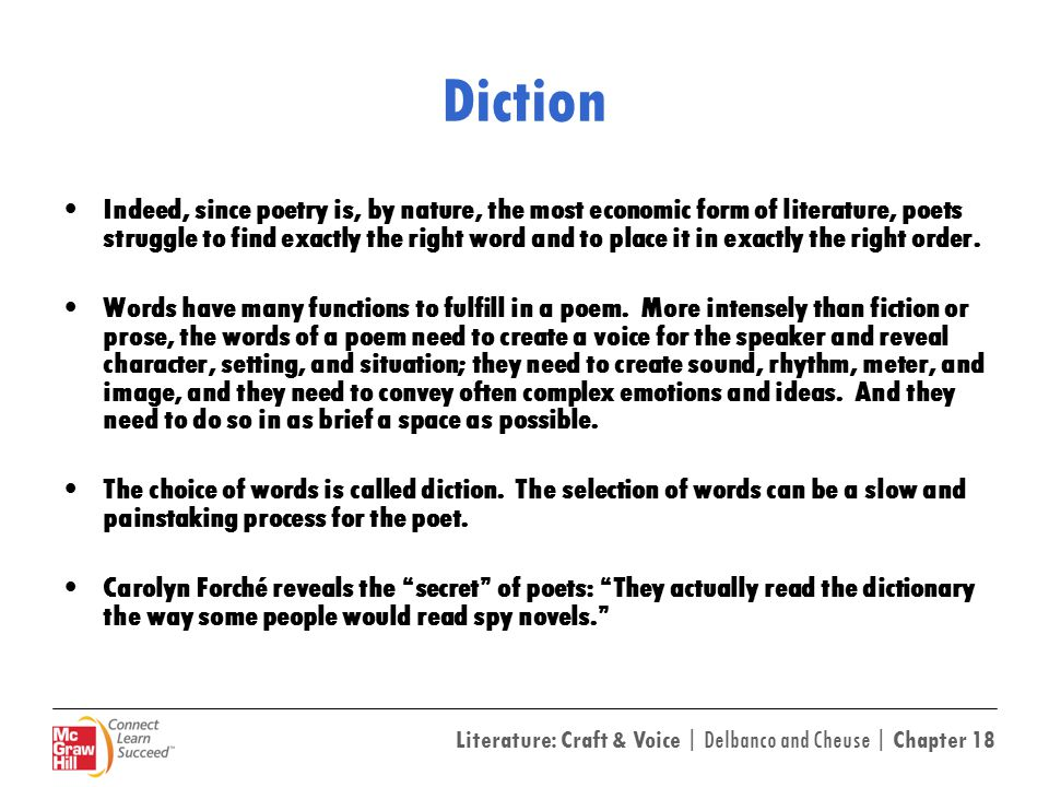 Diction examples in poetry.