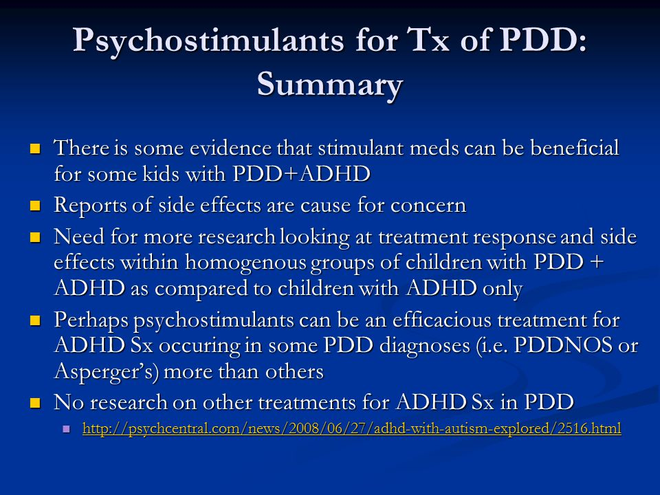 Psychostimulants for Tx of PDD: Summary