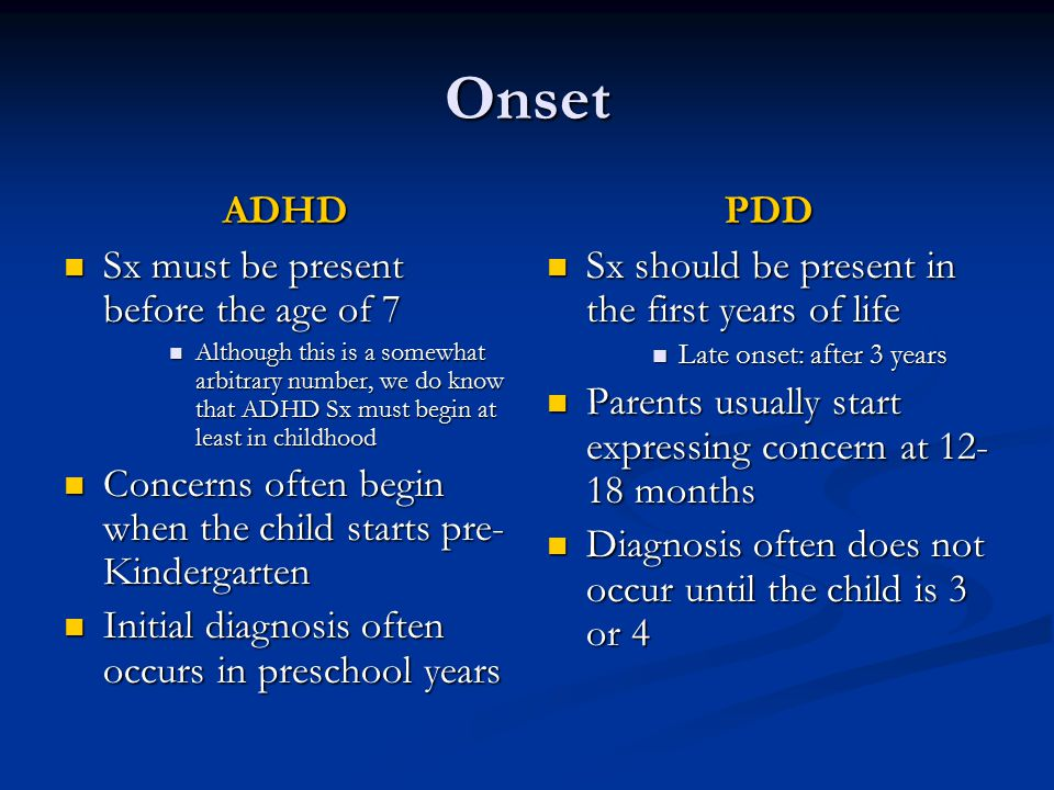 Onset ADHD Sx must be present before the age of 7