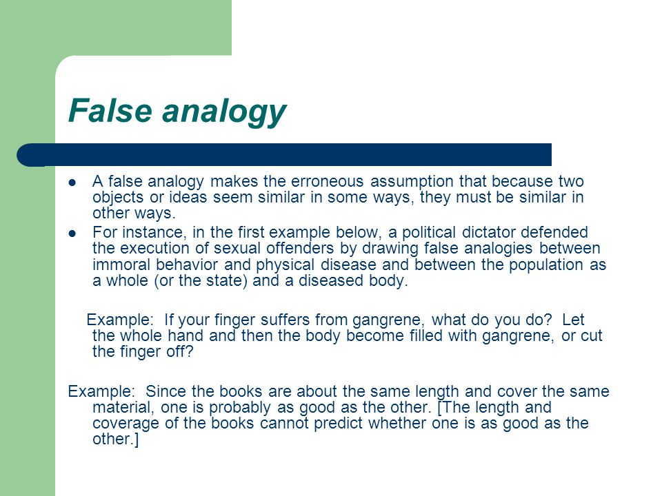 False Analogy Examples In Literature Image Collections Example