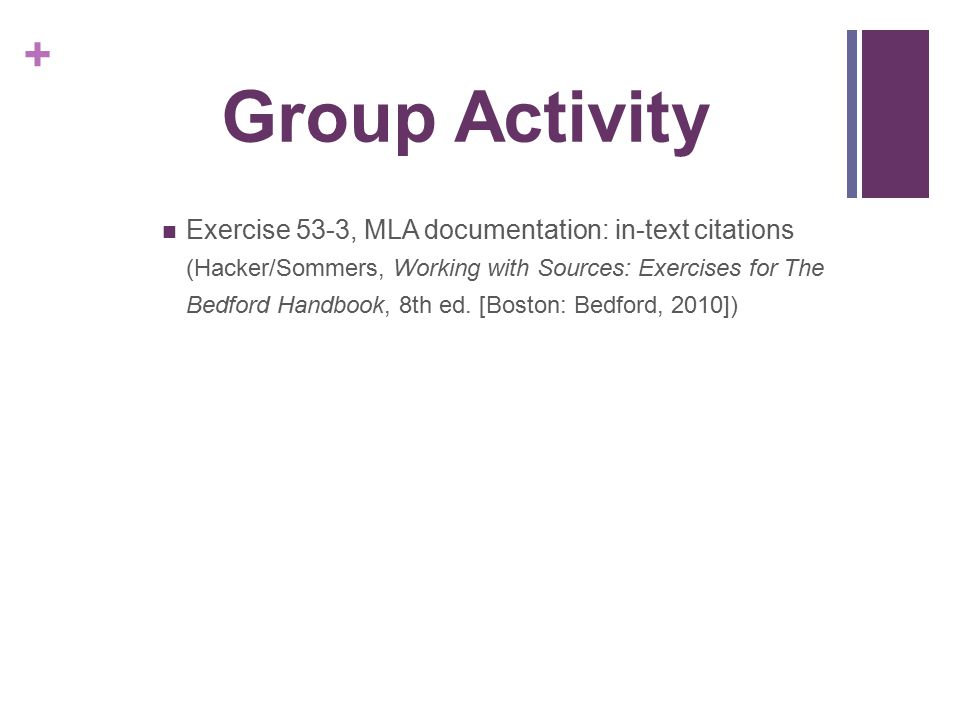 Group Activity Exercise 53-3, MLA documentation: in-text citations