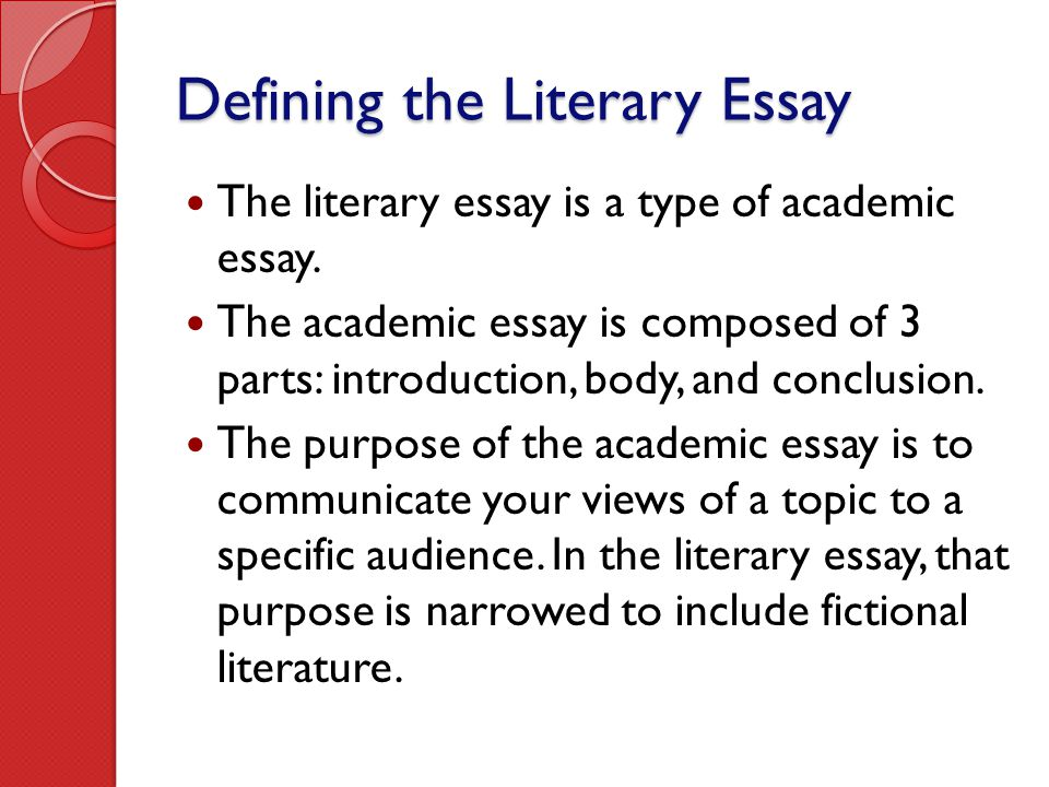 Outline For Descriptive Essay Defining The Literary Essay Cyrano De Bergerac Essay also Nobel Prize Essay Writing The Literary Essay  Ppt Video Online Download A Sample Argumentative Essay