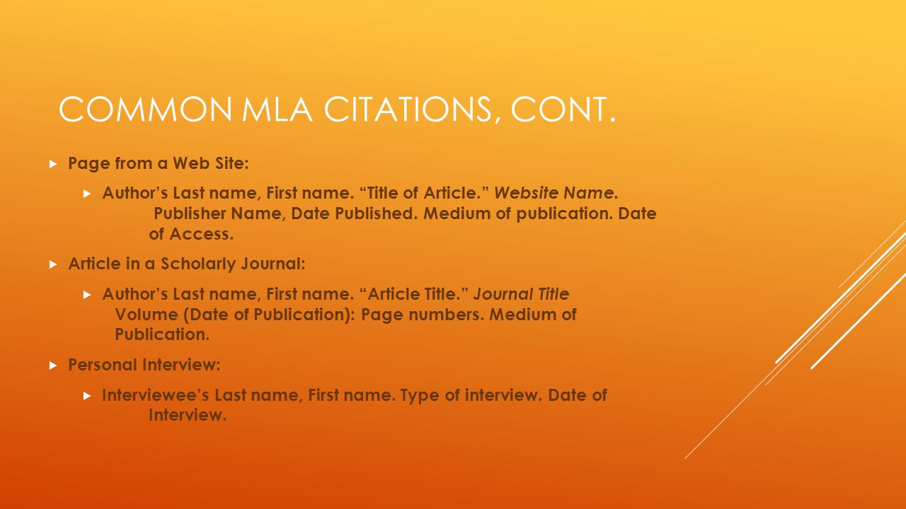 Common MLA Citations, cont.
