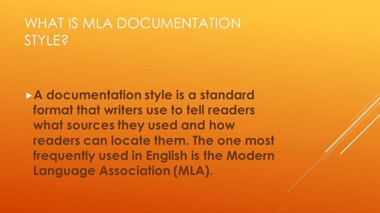 What is MLA documentation style