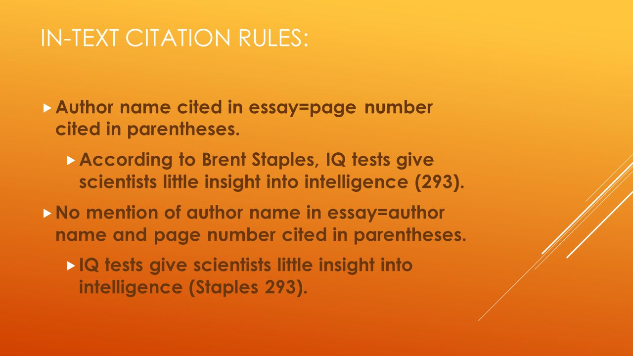 In-text Citation rules: