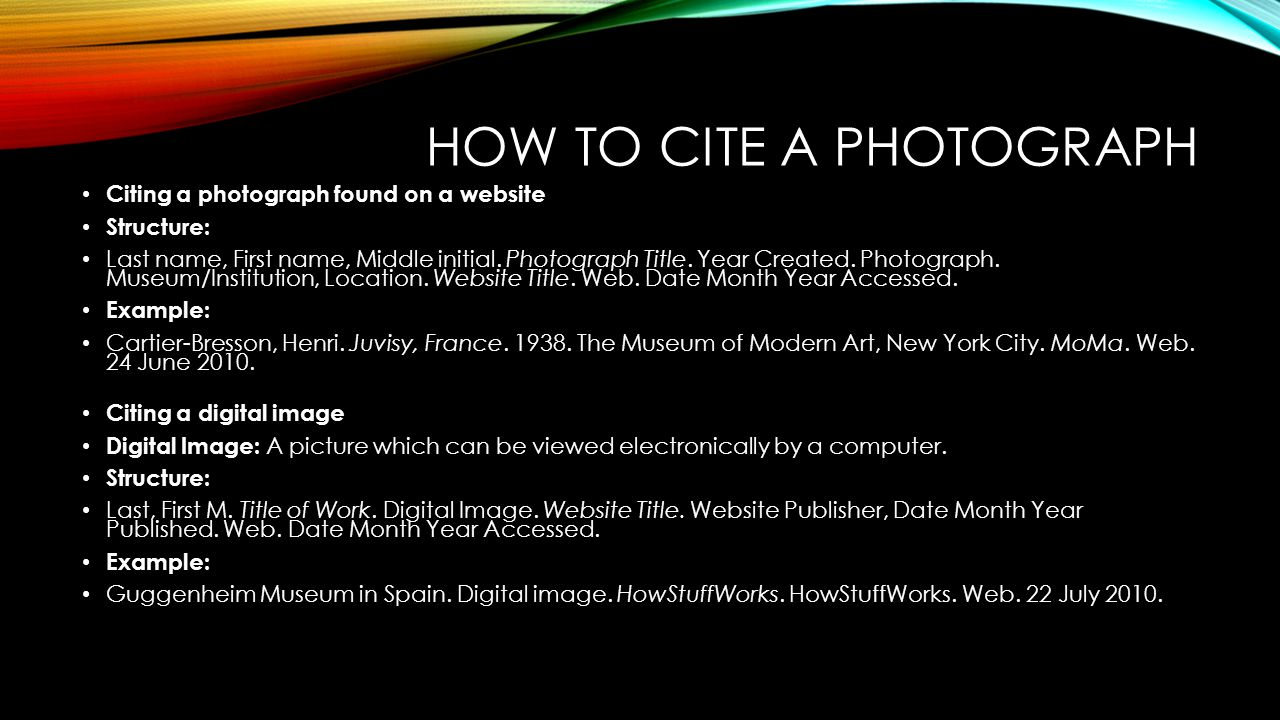 How to Cite a Photograph recommendations
