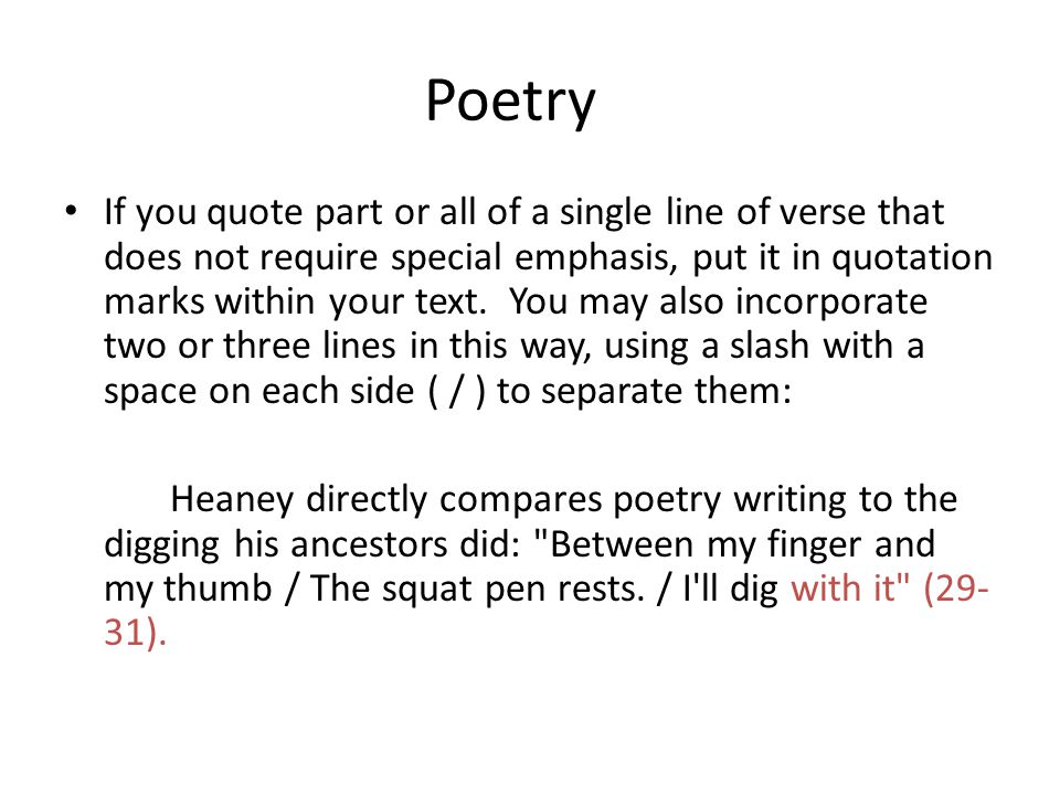 Quoting Poetry Within A Paper Using Mla Documentation Ppt
