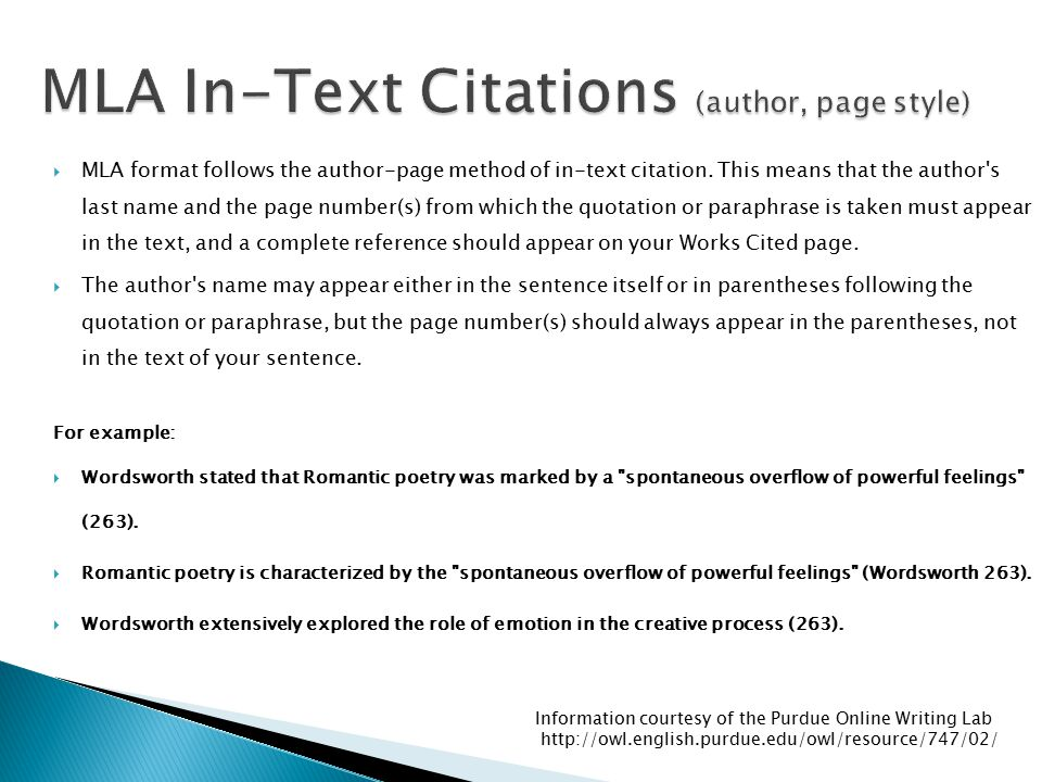 MLA In-Text Citations (author, page style)