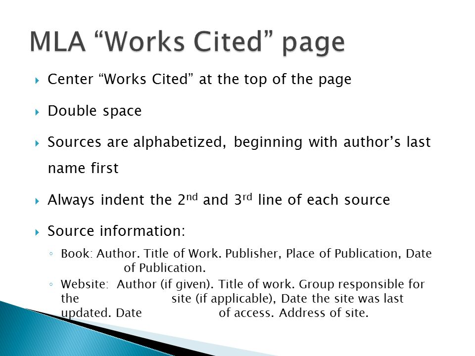 MLA Works Cited page Center Works Cited at the top of the page
