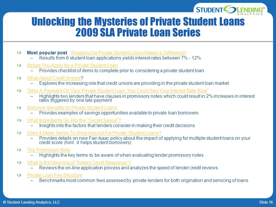 Unlocking the Mysteries of Private Student Loans 2009 SLA Private Loan Series