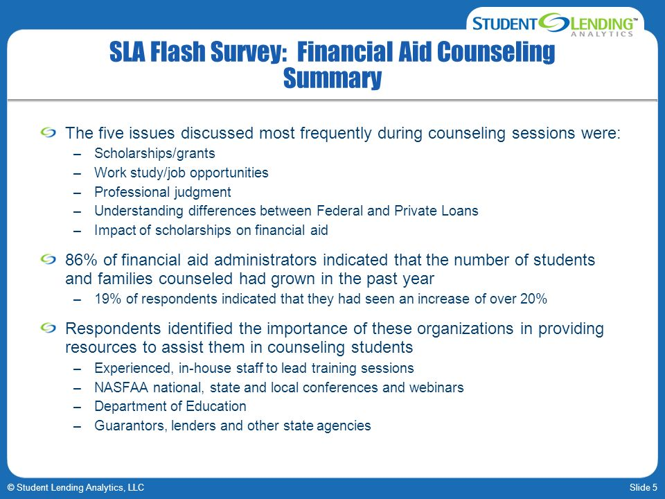 SLA Flash Survey: Financial Aid Counseling Summary