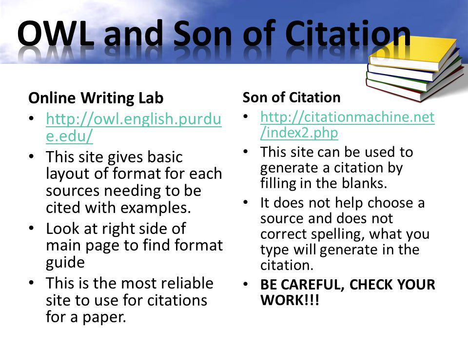 OWL and Son of Citation Online Writing Lab
