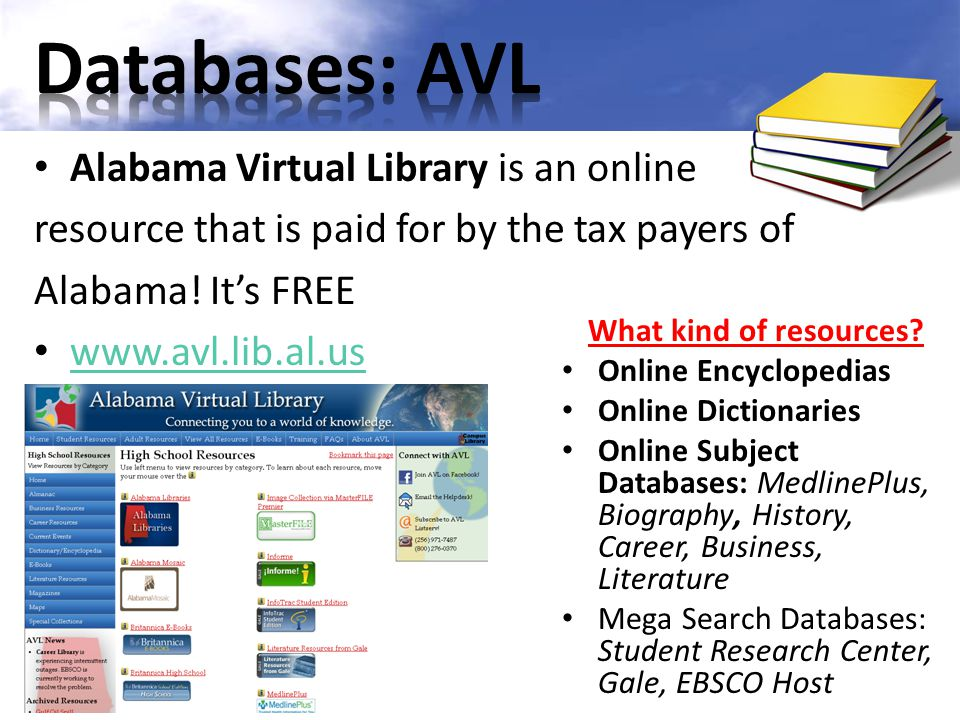 Databases: AVL Alabama Virtual Library is an online