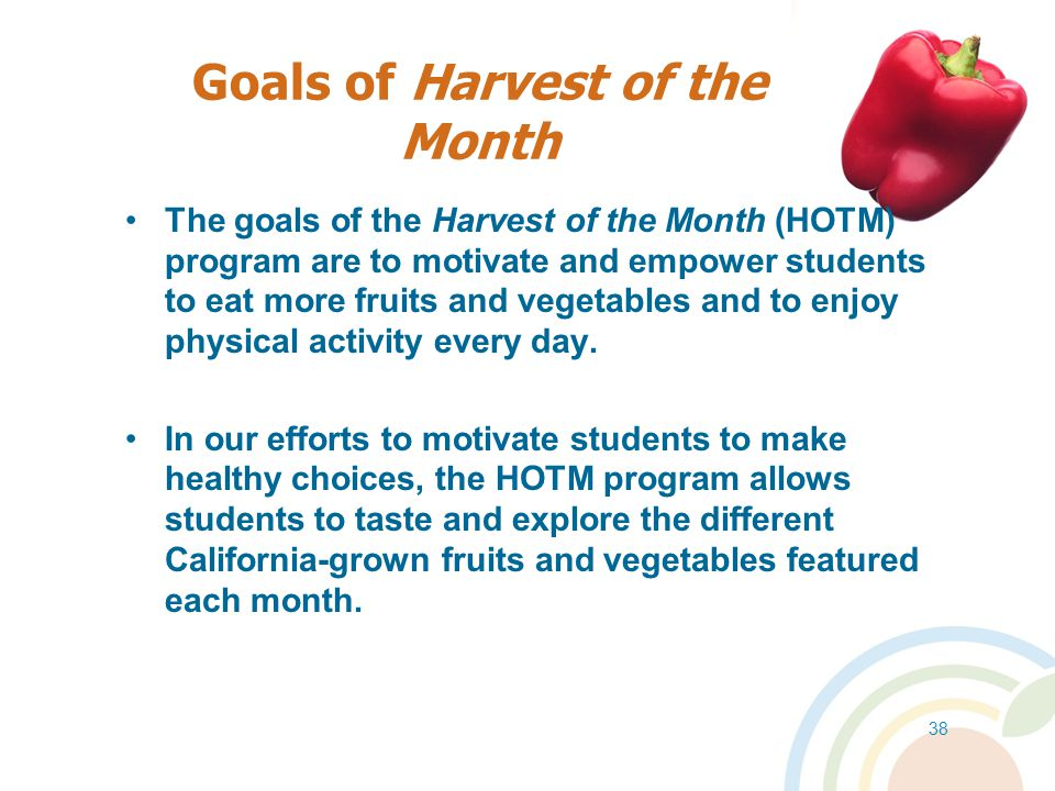 Goals of Harvest of the Month