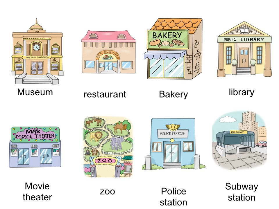Museum library restaurant Bakery Movie theater Subway station zoo Police station