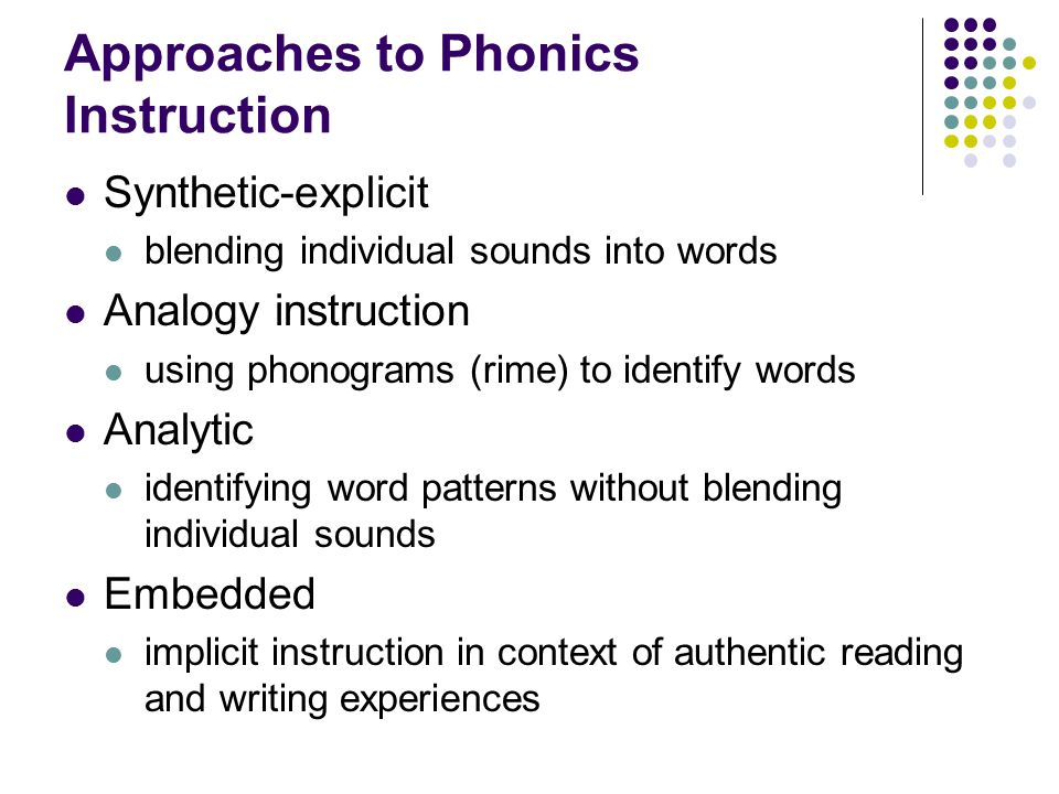 Approaches to Phonics Instruction