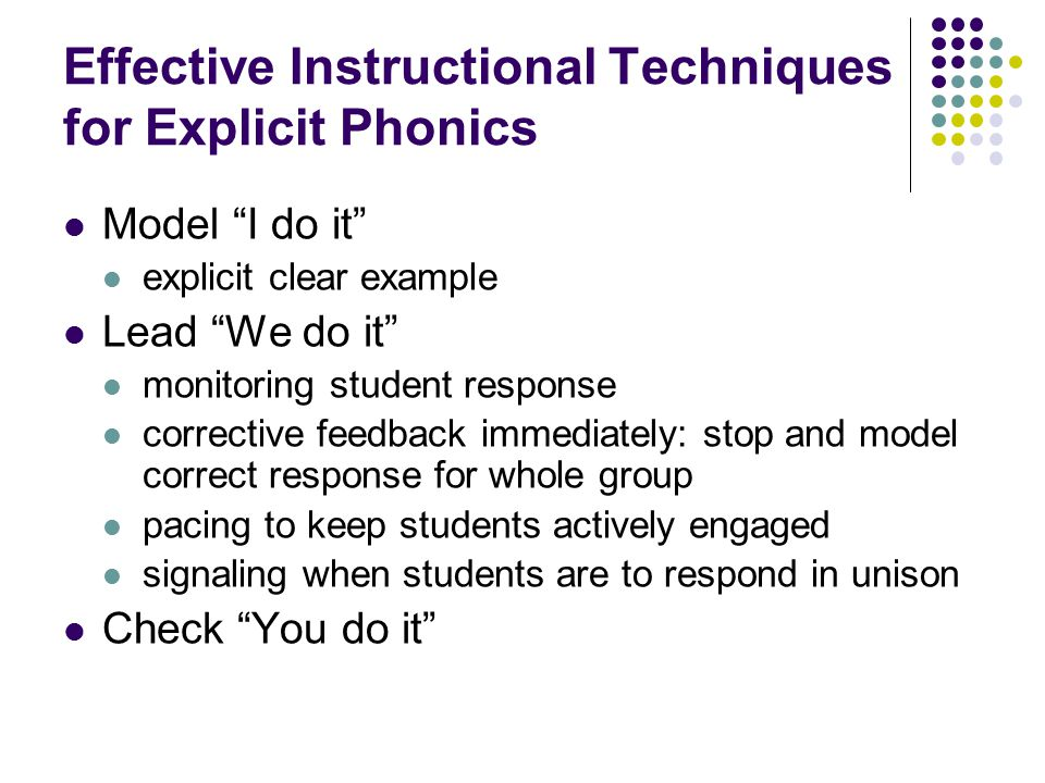 Effective Instructional Techniques for Explicit Phonics