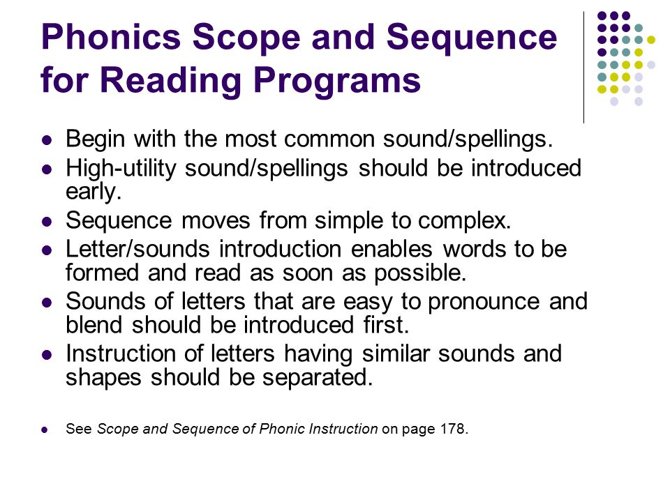 Phonics Scope and Sequence for Reading Programs