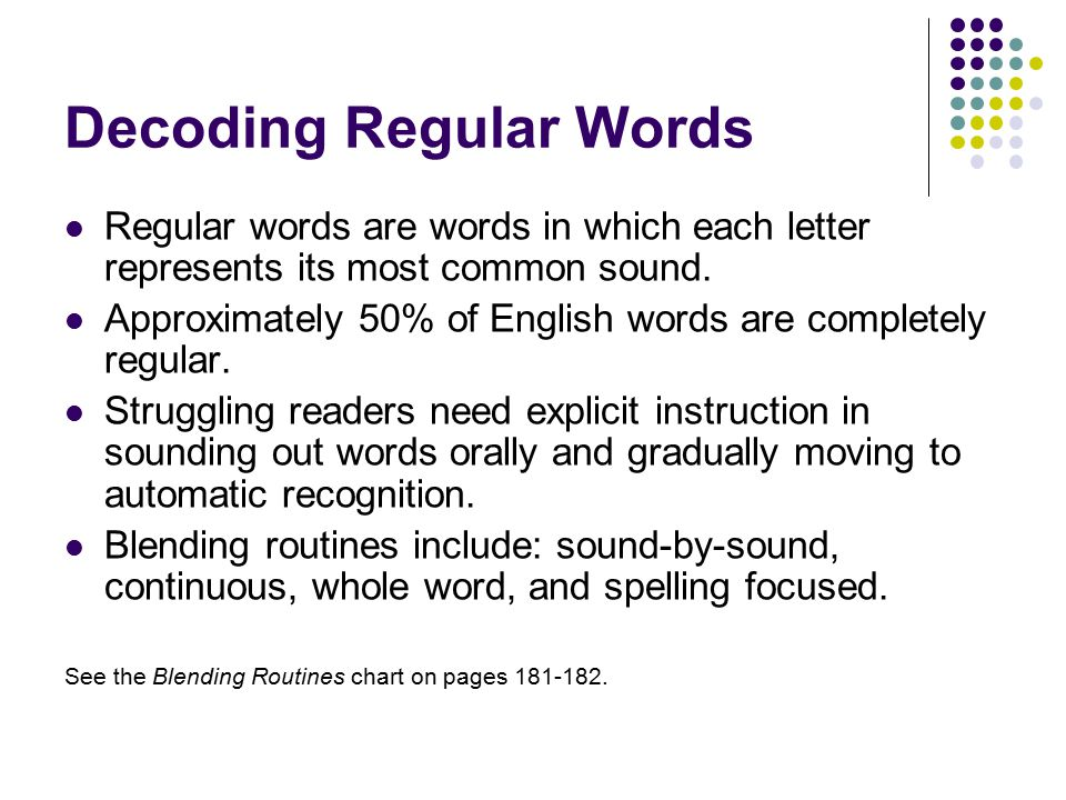 Decoding Regular Words