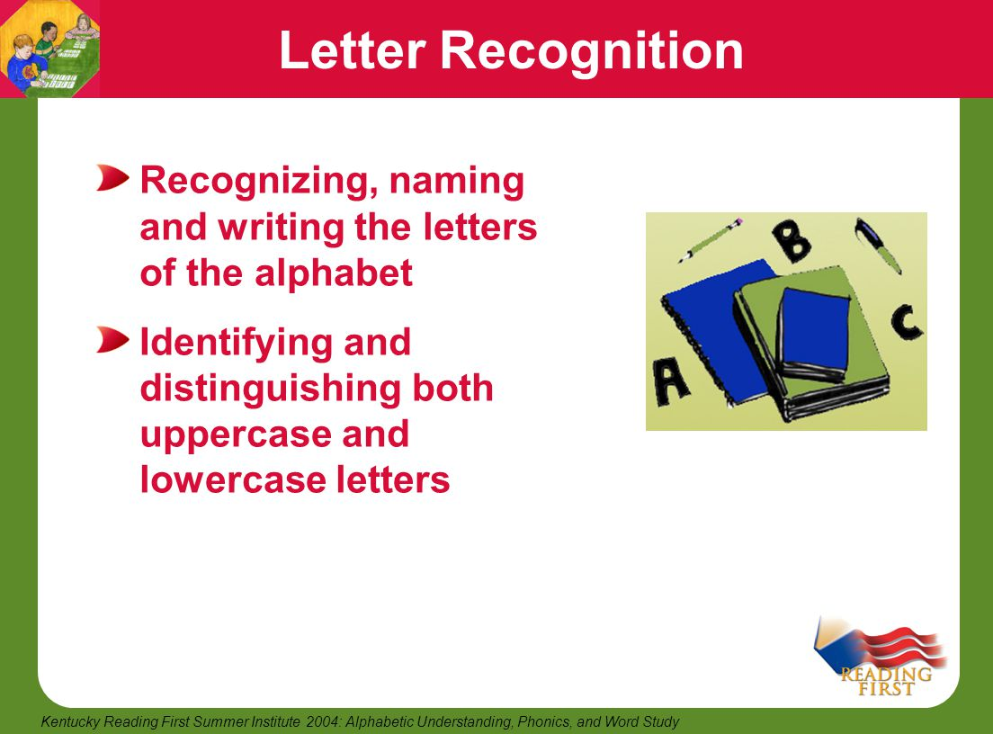 Letter Recognition Recognizing, naming and writing the letters of the alphabet.