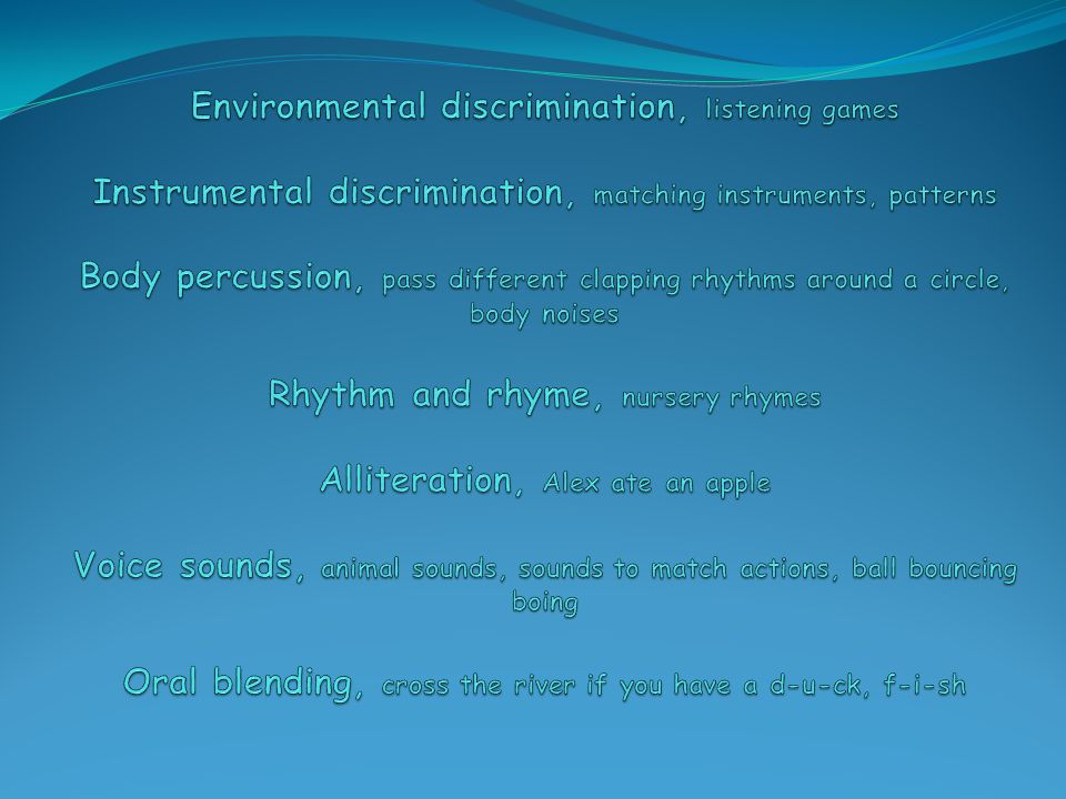 Environmental discrimination, listening games Instrumental discrimination, matching instruments, patterns Body percussion, pass different clapping rhythms around a circle, body noises Rhythm and rhyme, nursery rhymes Alliteration, Alex ate an apple Voice sounds, animal sounds, sounds to match actions, ball bouncing boing Oral blending, cross the river if you have a d-u-ck, f-i-sh