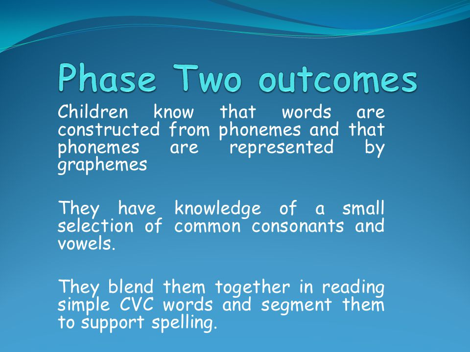 Phase Two outcomes Children know that words are constructed from phonemes and that phonemes are represented by graphemes.