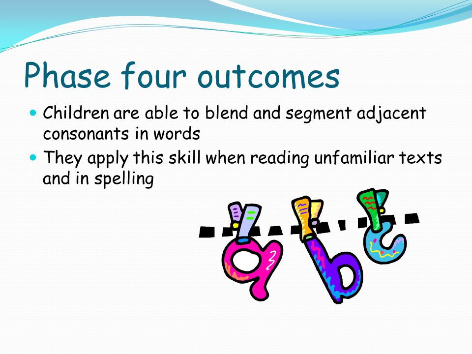 Phase four outcomes Children are able to blend and segment adjacent consonants in words.