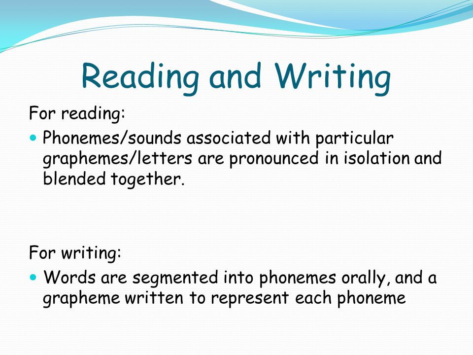 Reading and Writing For reading: