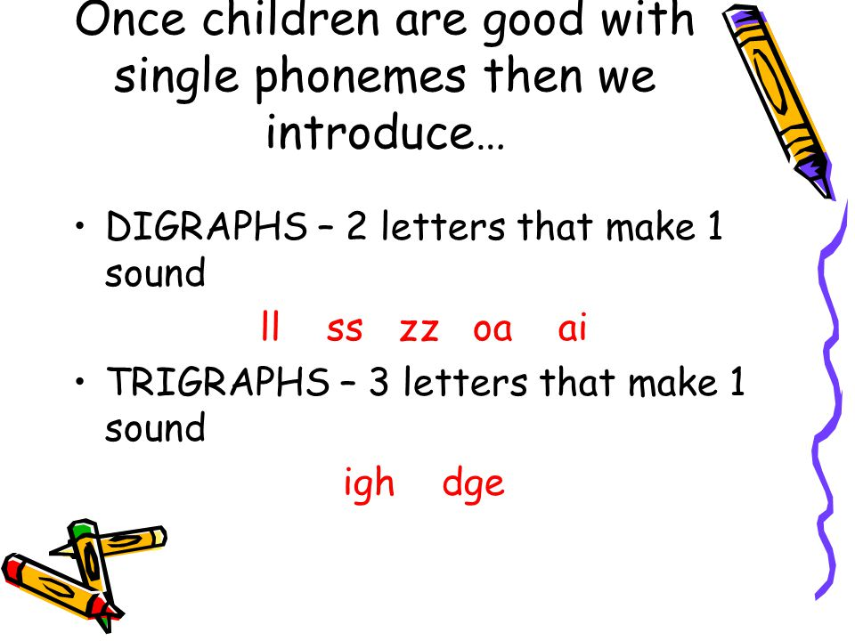 Once children are good with single phonemes then we introduce…