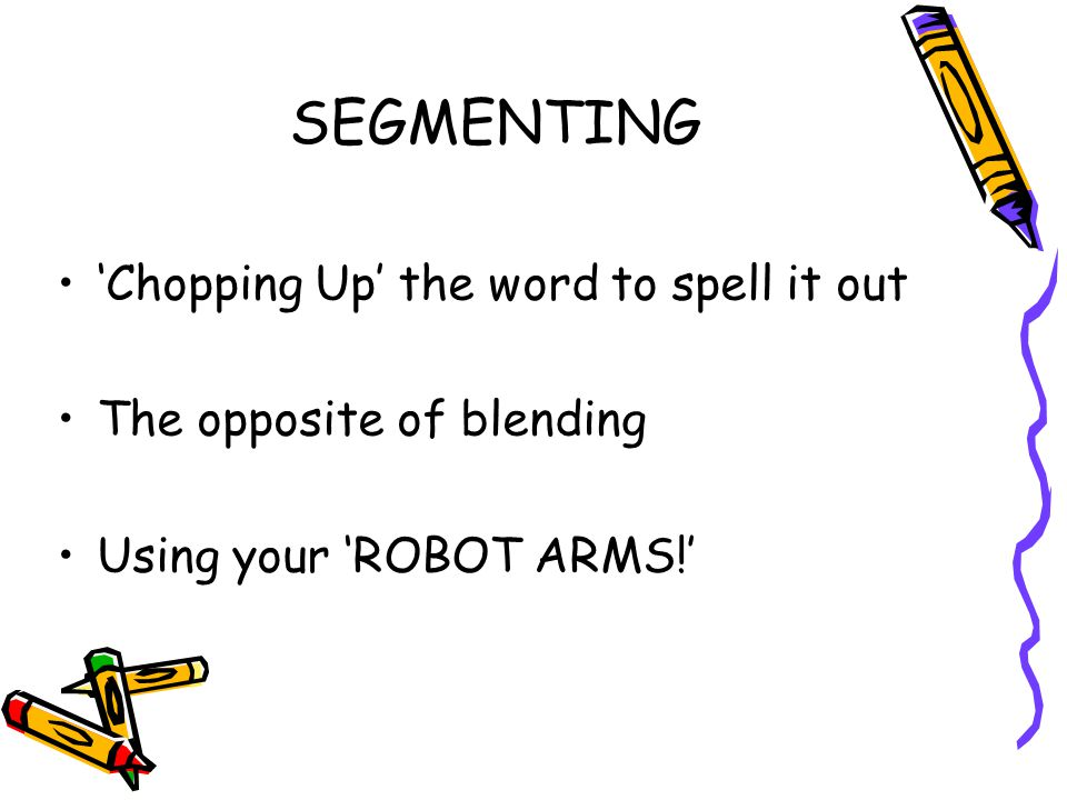 SEGMENTING 'Chopping Up' the word to spell it out