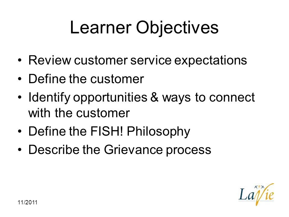 learner objectives review customer service expectations