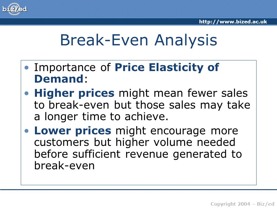 Break-Even Analysis Importance of Price Elasticity of Demand:
