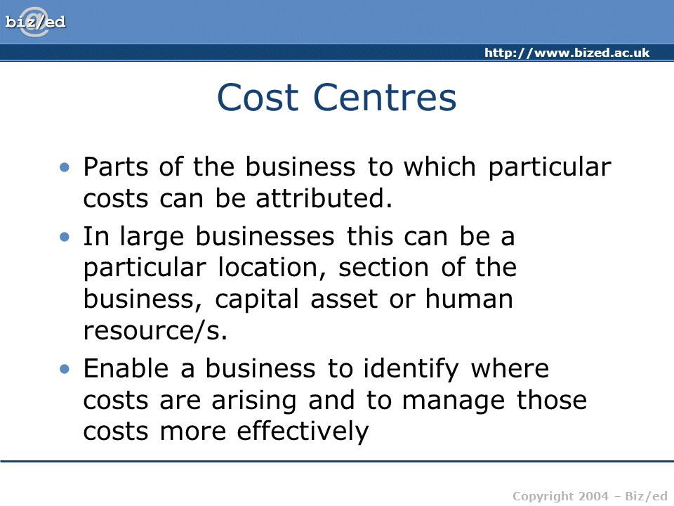 Cost Centres Parts of the business to which particular costs can be attributed.