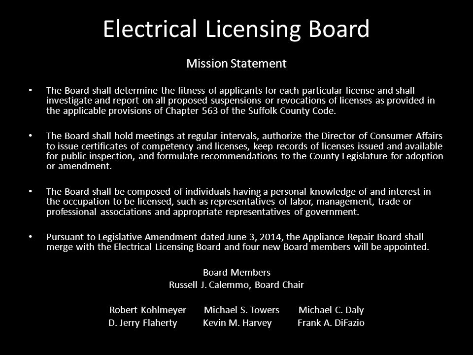 SUFFOLK COUNTY DEPARTMENT OF LABOR, LICENSING & CONSUMER AFFAIRS ...