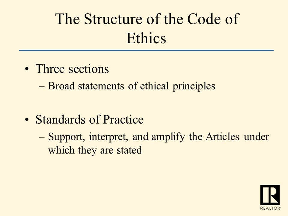 The Structure of the Code of Ethics