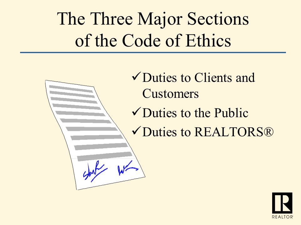 The Three Major Sections of the Code of Ethics