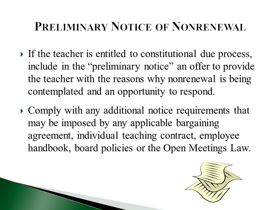 Individual teacher contracts the ppt download preliminary notice of nonrenewal altavistaventures Gallery